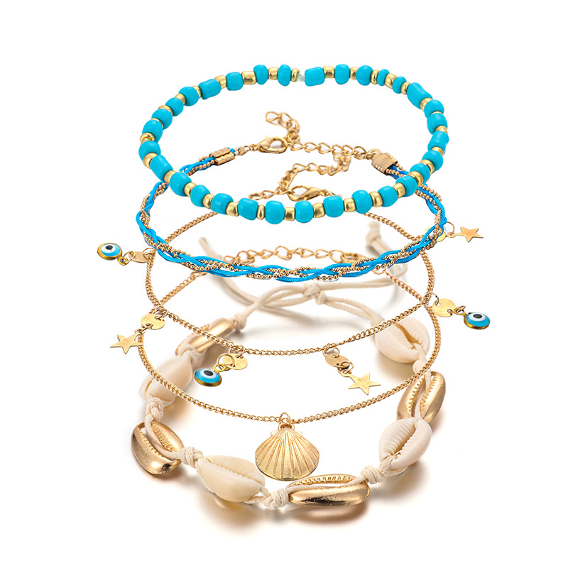 Heart-shaped Eye Rice Beads Woven Shell Multilayer Anklet