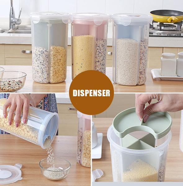Wall-mounted dry food dispenser Wall Mounted Divided Rice and Cereal Dispenser 6 Moisture Proof Automatic Racks Sealed Food Storage Box Rice Storage Container