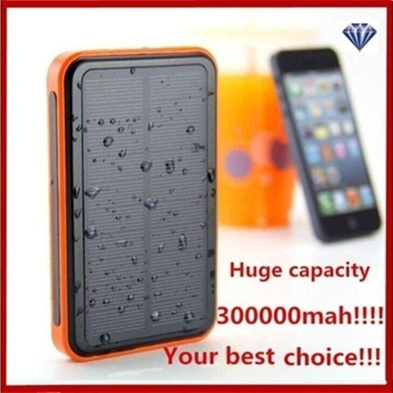 300000MAH Large Capacity 6LED Waterproof Portable Solar Power Bank Dual USB Solar Charger fs5