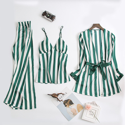 Spring and autumn sexy stripes with chest pads three-piece pajamas