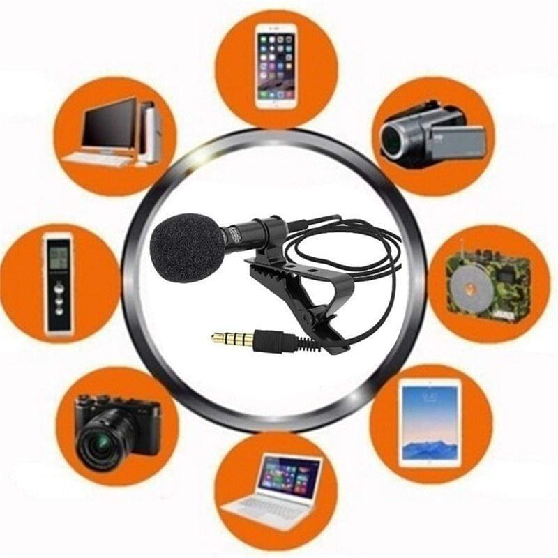 1 pc Lavalier Mic Microphone Case For IPhone Smart Phone Recording PC Clip-on Lapel