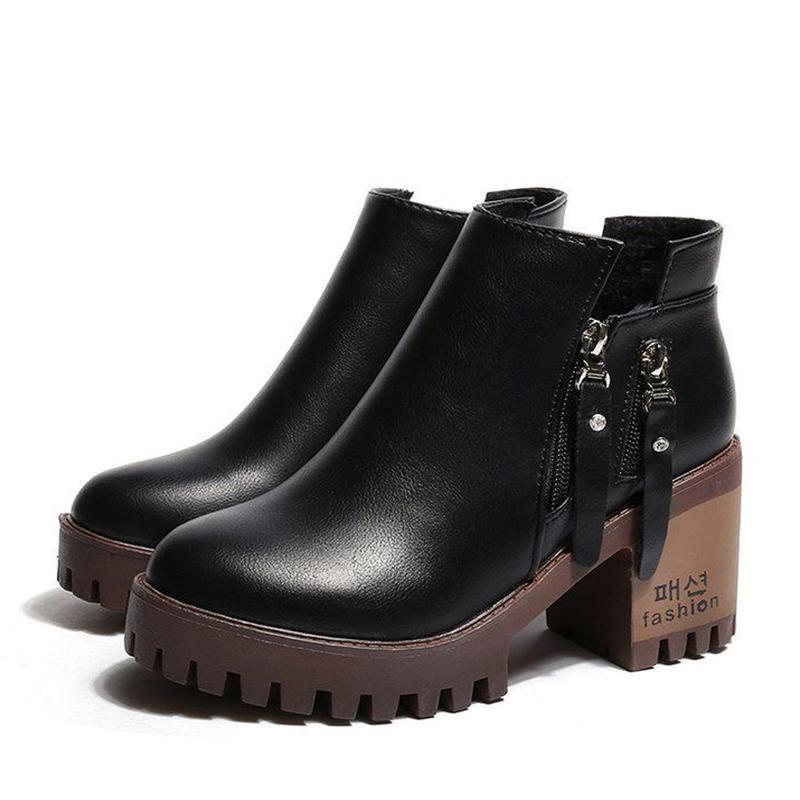 Autumn new zippered ankle boots