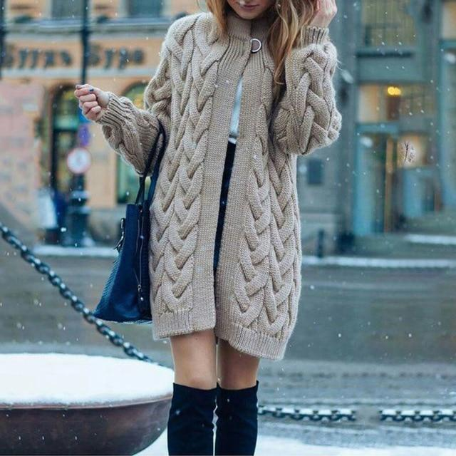 Women's cable knit cardigan sweater opent front cardigan for winter