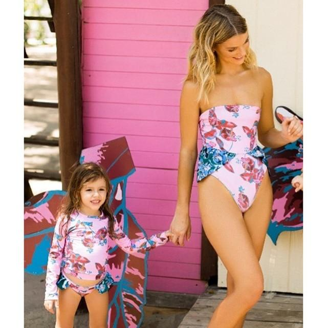 2021 Matching Family Bathing Suits Mother Girl Bikini Bodysuit