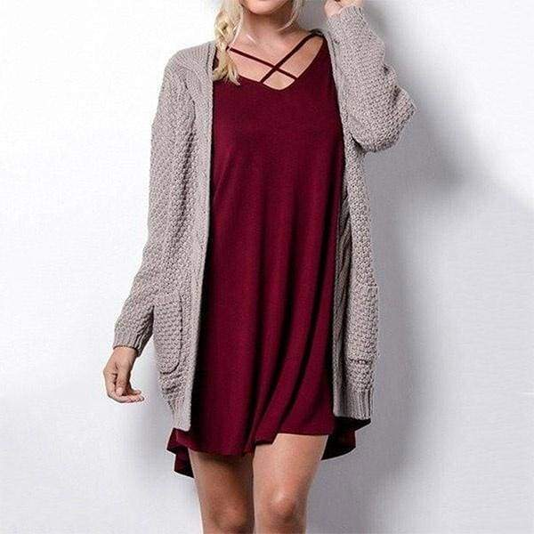 Women's Boho Long Sleeve Open Front Chunky Warm Cardigans Pointelle Pullover Cozy Sweater