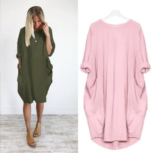 Autumn Long Sleeve A Line Dress With Pockets