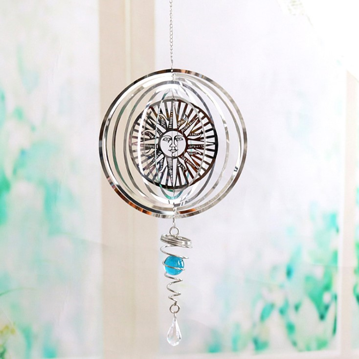 Diy Rotating Wind Chime Metal Ornament Craft Home Decoration