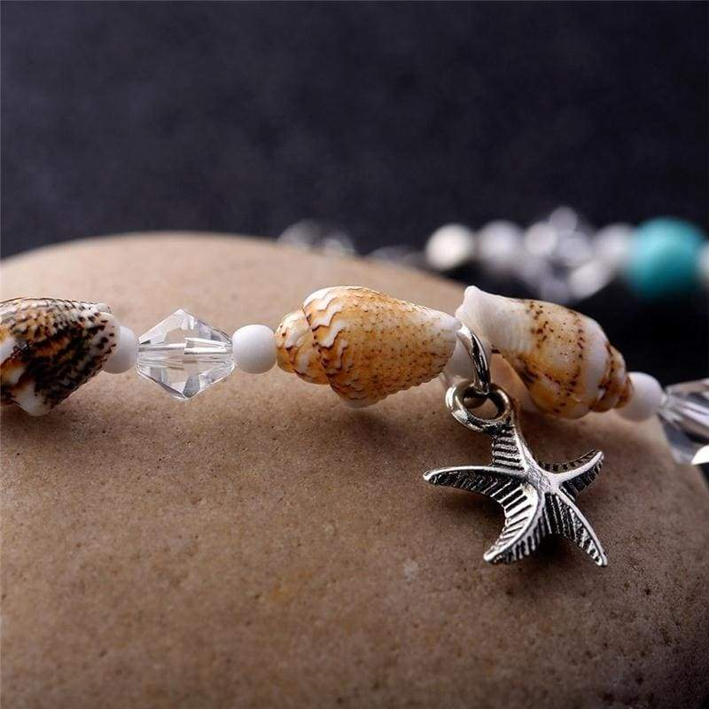 Europe jewelry Crystal Glass Beads Blue Stones Sea Shell Summer Anklet with Starfish Charm Barefoot Sandels Ankle Chain for Beach Holidays