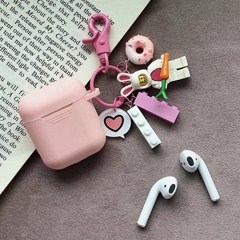New Cute Cartoon Pattern Silicone Case Apple Airpods Charging Case Protective Cover With Finger Ring Strap(Not Include Airpods)