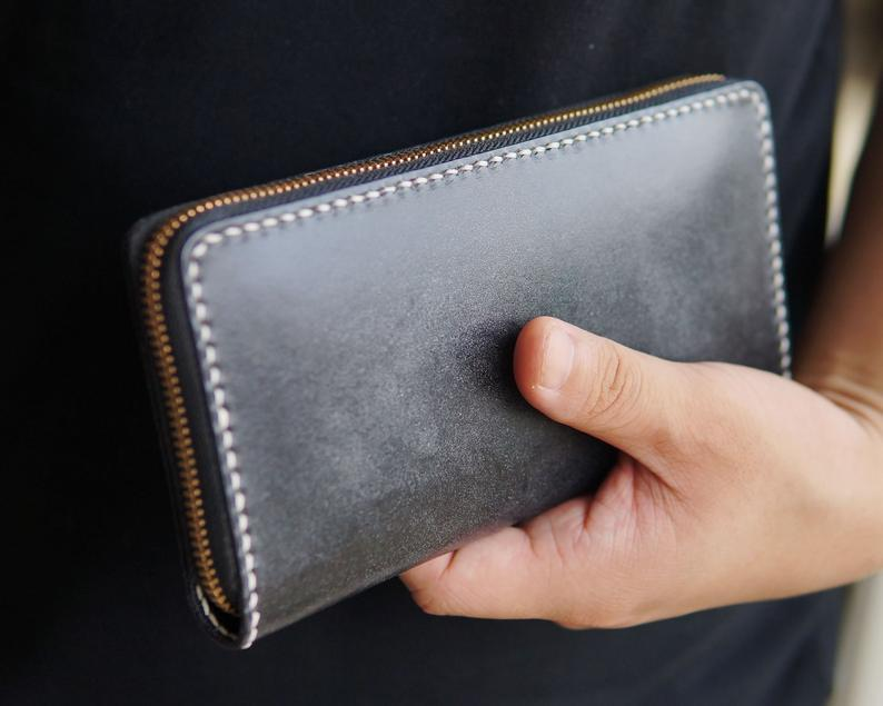 Leather Long Wallet Clutch Zipper Card Wallet Phone Wallet Handmade Wallets for Men Women Credit Card Holder, Fathers Day Gift, Husband Gift        Update your settings