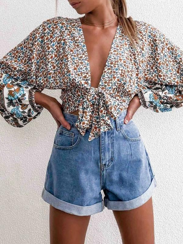 Twinklemoda Flower Cropped Rayon Not lined Top