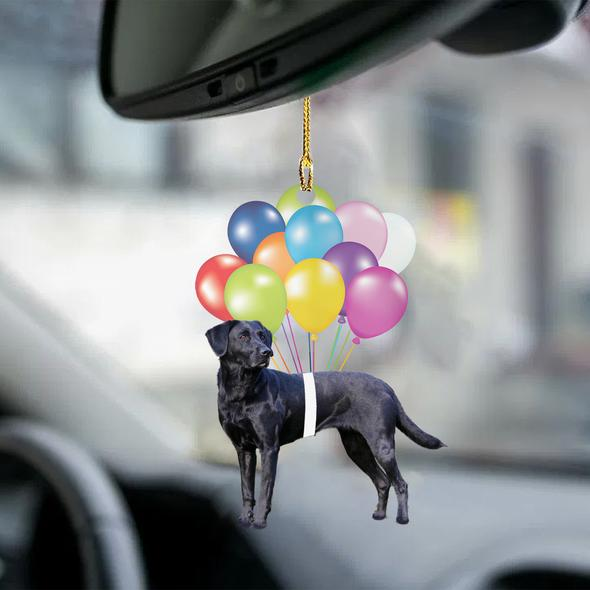 Black Labrador Fly With Bubbles Hanging Ornament
