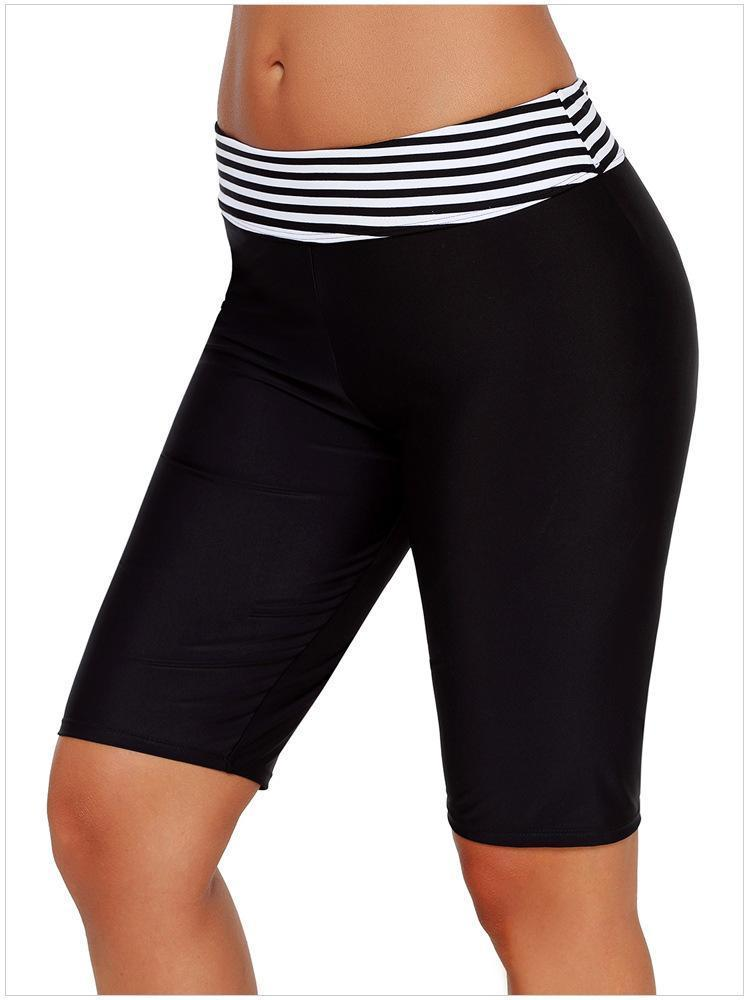 Stripes Five Point High Waisted Swimming Trunks