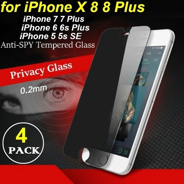 4 Pcs Privacy Anti-Spy IPhone X Tempered Glass Film Screen Protector for IPhone XsMax XR X 8 8 Plus 7 7 Plus 6 6s Plus 5 5s SE