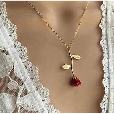 Women's Pendant Necklace Y Necklace Classic Stylish Roses Ladies Dangling Romantic Fashion Alloy Silver Red Rose Gold 51 cm Necklace Jewelry 1pc For Going out Valentine