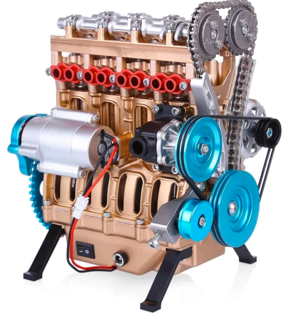 🔥BUY MORE SAVE MORE🔥V4 Car Engine Assembly Kit Full Metal 4 Cylinder Car Engine Building Kit