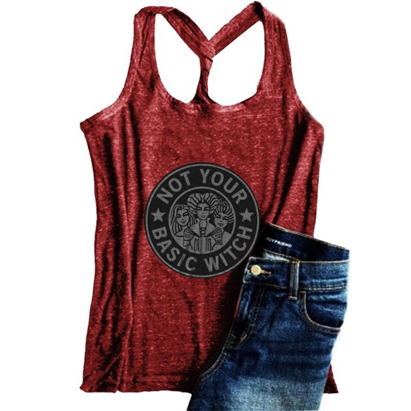 Women's Fashion Hocus Pocus Sleeveless Tank Tops Not Your Basic Witch Halloween Vest Casual Graphic Tee Shirts Tops