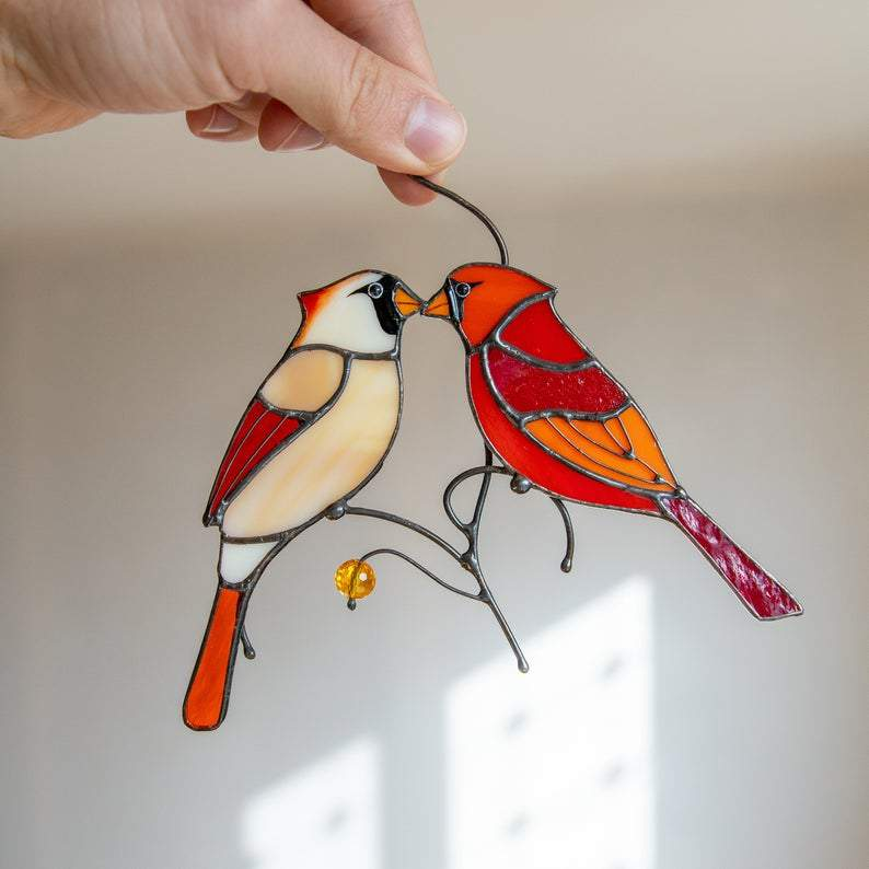 Cardinal Stained Glass Valentine Suncatcher Gift Cardinals Stained Glass Window Hangings Mothers Day Gift