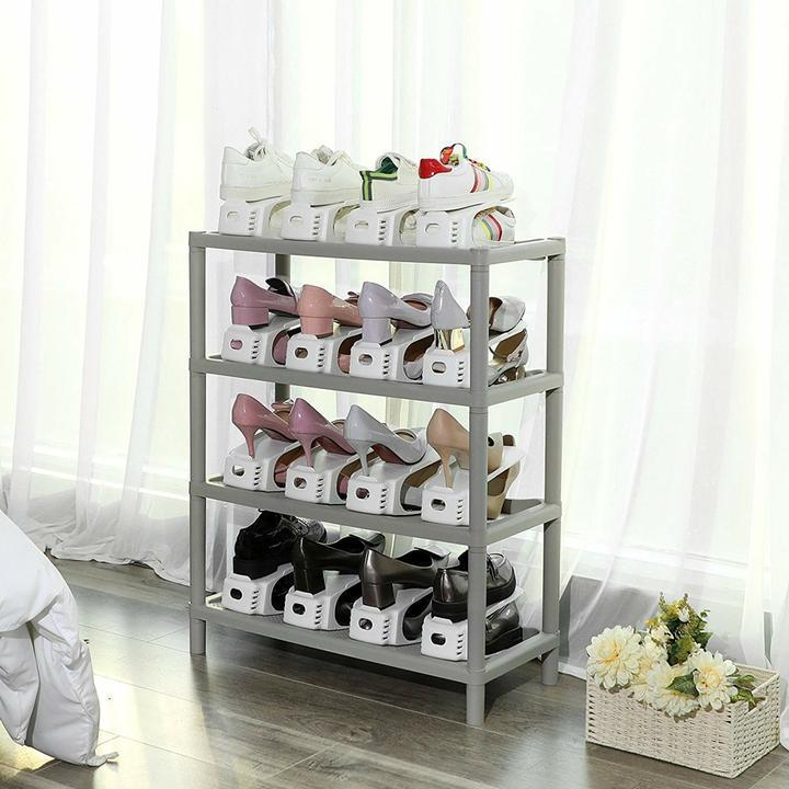 Adjustable Double Deck Space Saver Shoe Rack for Heels/Boots