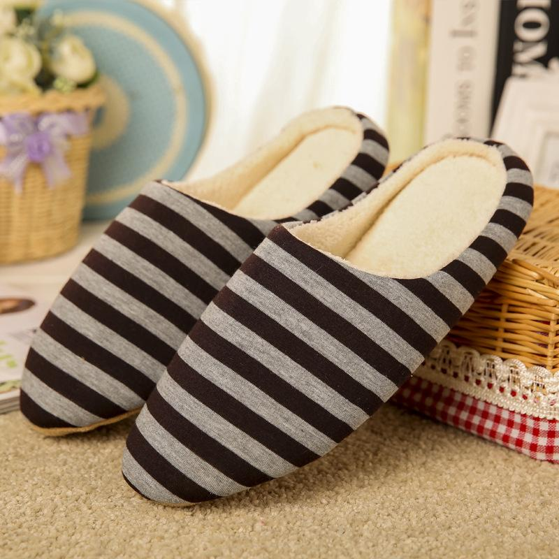 Women's house slippers with arch support striped cotton warm bedroom slippers