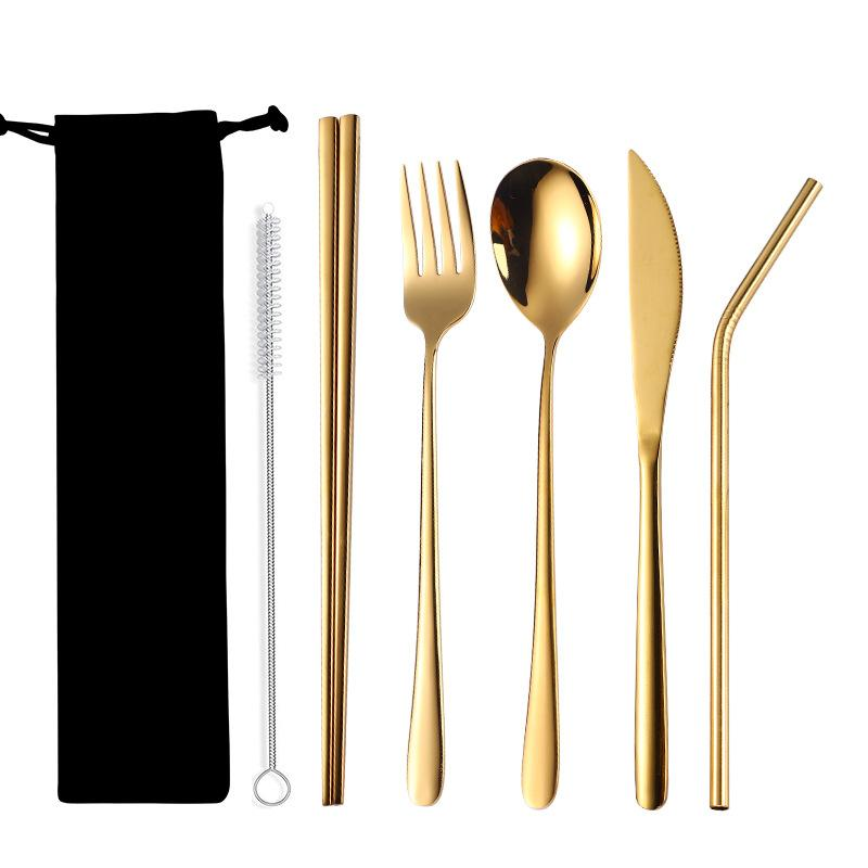 Portable Tableware Set 304 Stainless Steel Creative Titanium Plated Environmental Protection 7 Pieces Set