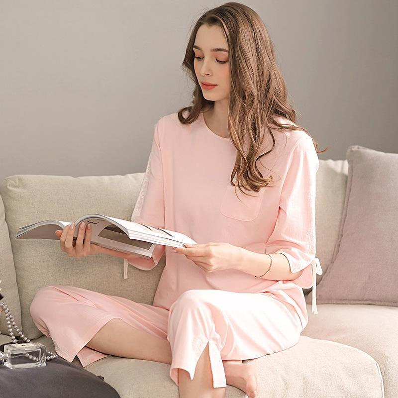 2-piece set  cotton long-sleeved top + pants solid color loungewear