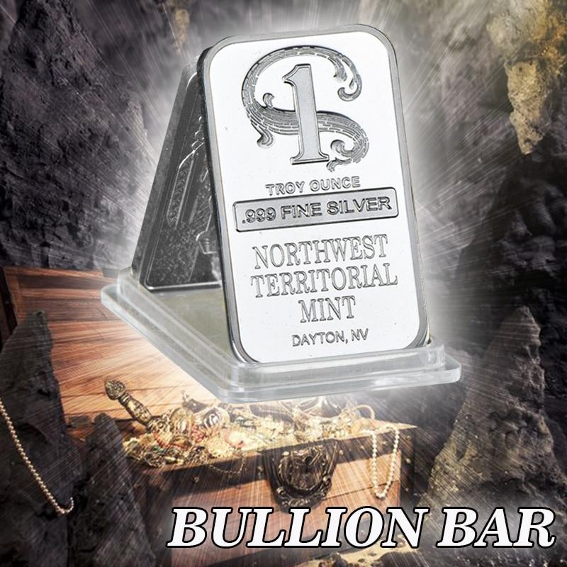 Quality Silver Plated Metal Bar Northwest Territorial Mint Art Crafts Bullion Bar Silver Coin for Home Collection Souvenir