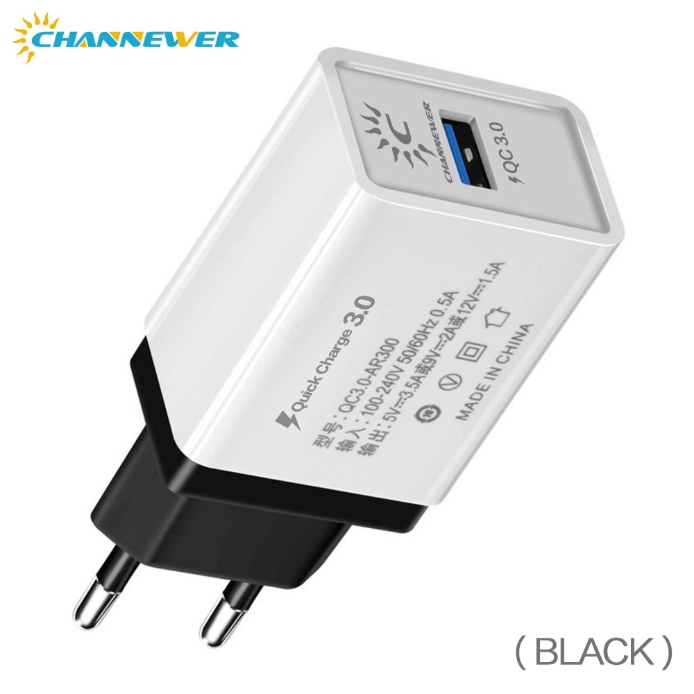 Quick Charge 3.0 18W USB Wall Charger, Universal Travel Adapter Fast Charging USB C Phone Upgrade with Smart IC Overcurrent Protection Channewer Phone Accessories for Smartphones, Tablets and All USB Enable Devices, EU/US Plug Optional