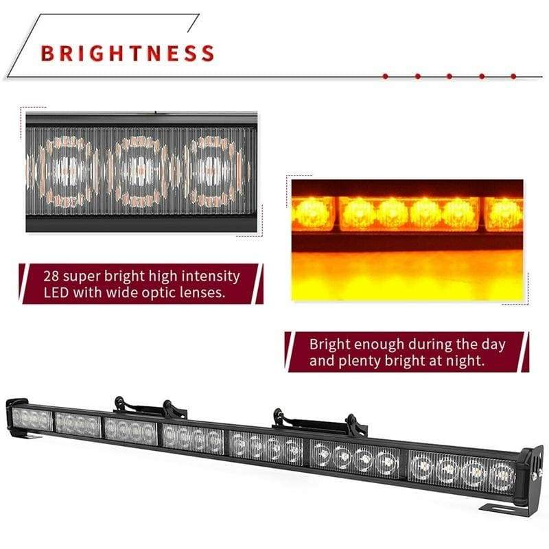 31 28 LED Emergency Flash Strobe LED Light Bar Traffic Advisor- Amber 12-24V