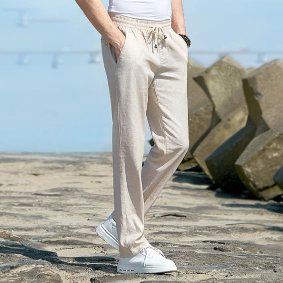 Last Day Promotion -Men's Relaxed-Fit Linen Pant with Drawstring