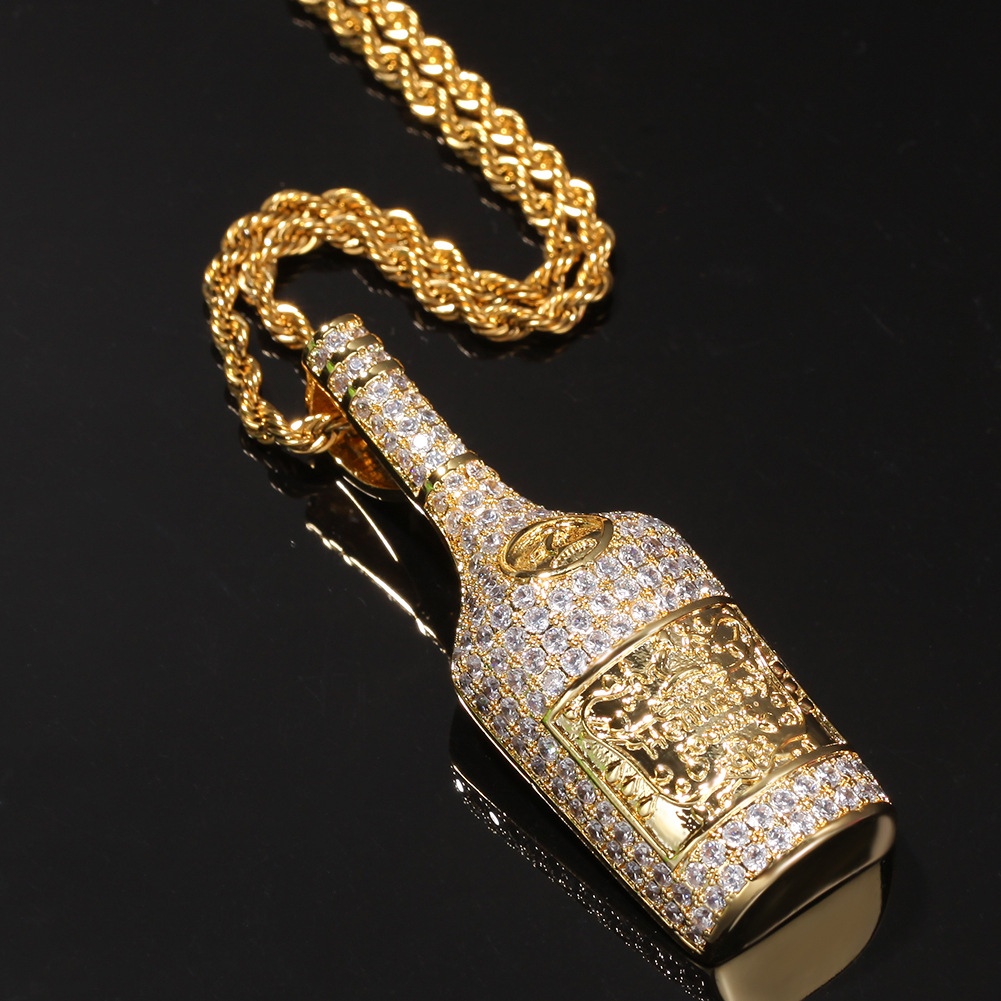 Whiskey bottle gold-plated diamond necklace