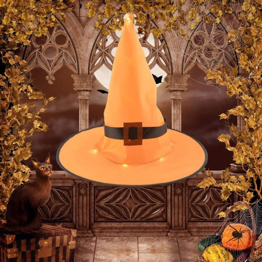 Halloween Decoration Outdoor Hanging Lighted Glowing Witch Hat Lights String Battery Operated For Outdoor Yard Tree Decorations For Cosplay Props