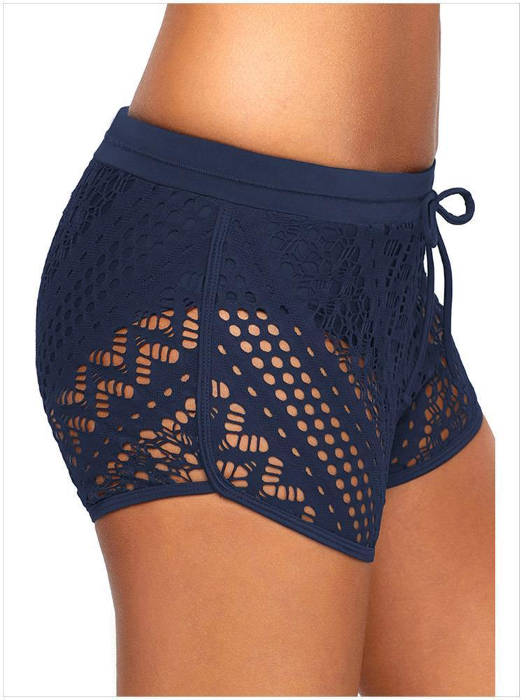 Black Lace Hollow Out Sexy Swimming Trunks