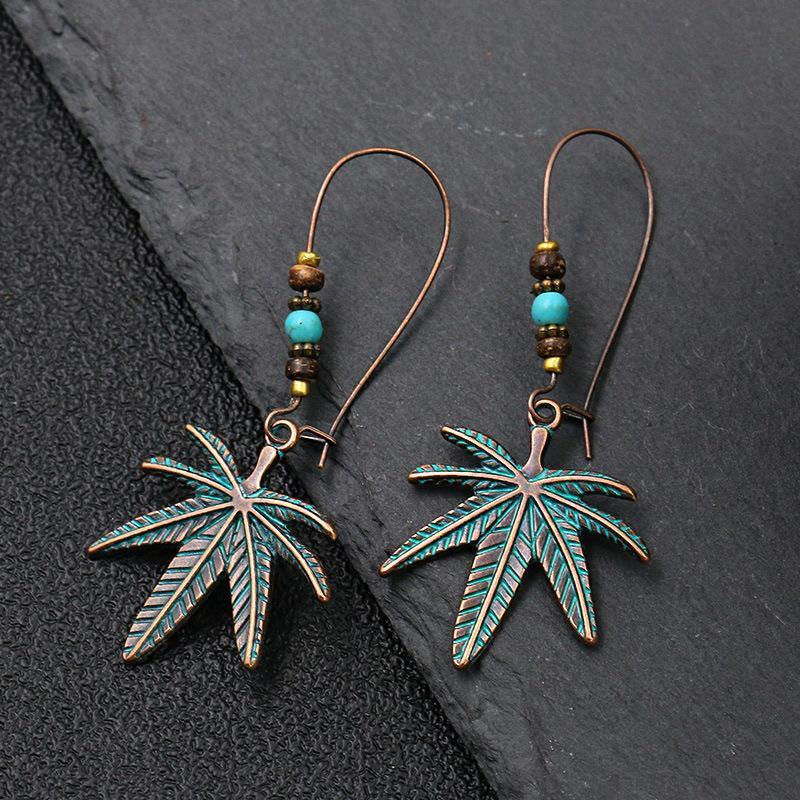 Women's Leaves Hand of Fatima Round Turquoise Rice Bead Earrings