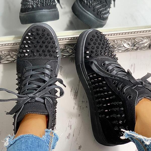 Faddishshoes Solid Studded Eyelet Lace-Up Casual Sneakers