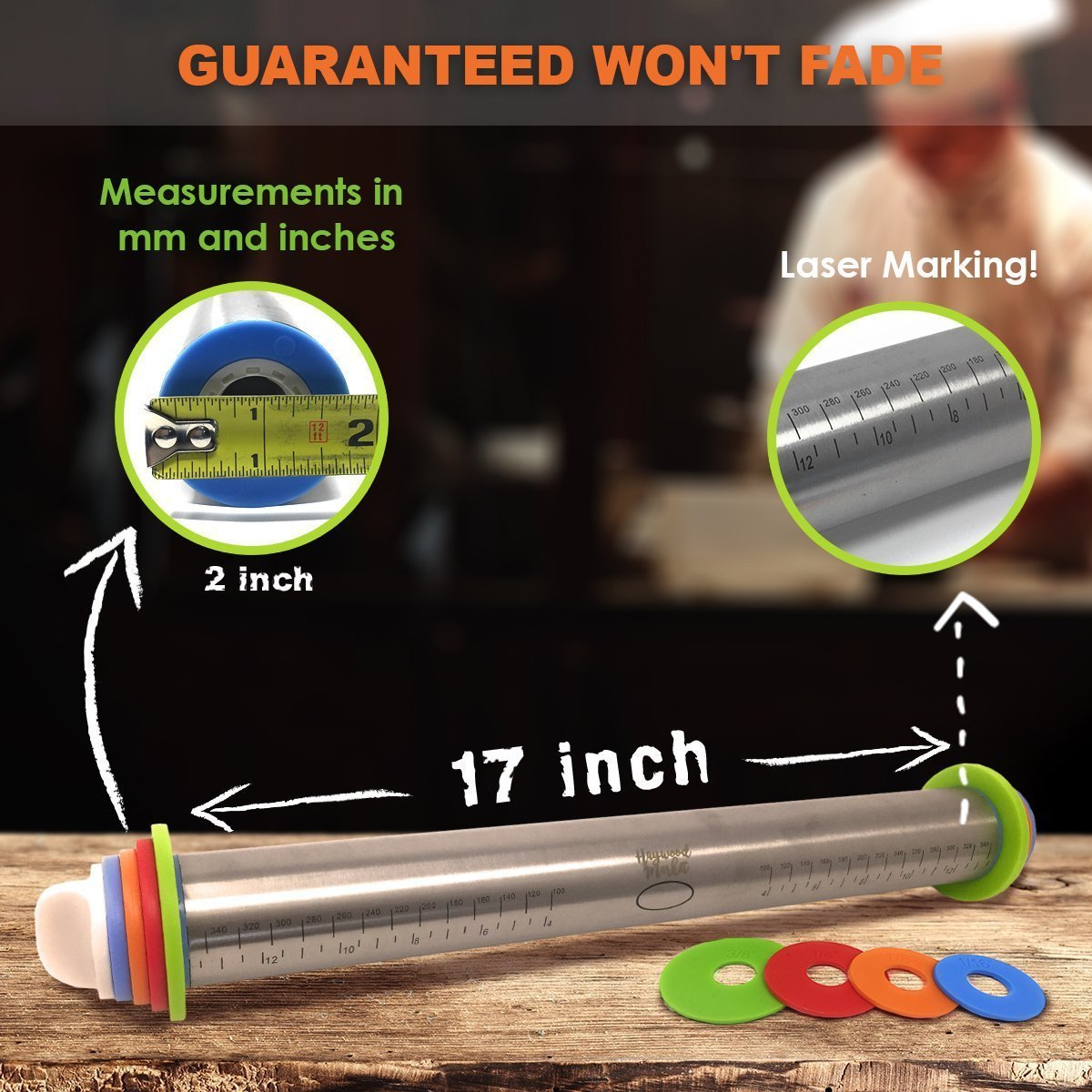 Breezylive 17 inch Adjustable Non-Stick Long Rod Rolling Pin for Baking