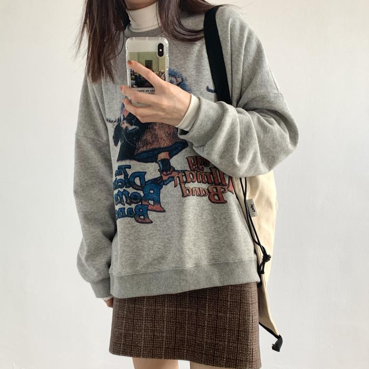Korean version of the new fun printed casual sweater round neck loose comfortable terry cotton wild college style shirt
