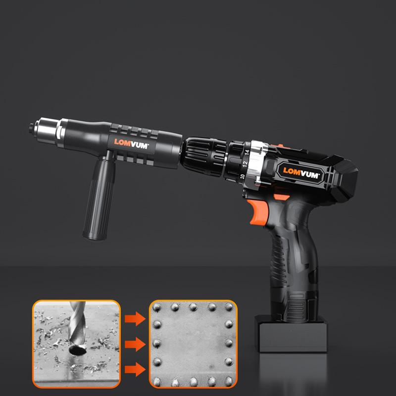 PURPO™ Professional Rivet Gun Adapter Kit with 4Pcs Different Matching Nozzle Bolts