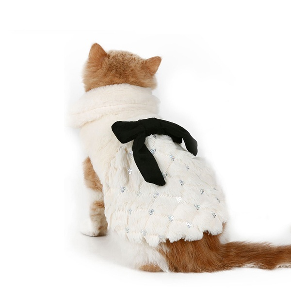Pet dog Clothes Elegant Luxury Fur Winter Overcoat Small Dog Cat Clothes Bowknot Chihuahua French Bulldog clothes