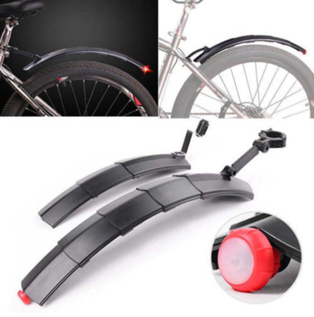 Bicycle retractable mudguard--pressure resistant, with taillights