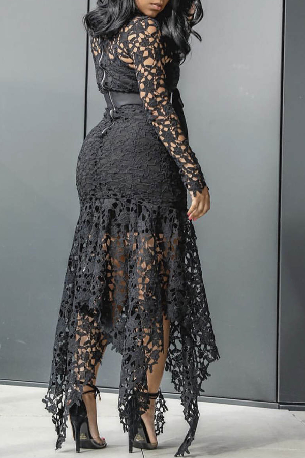 Lace See-through Long Sleeve Dress