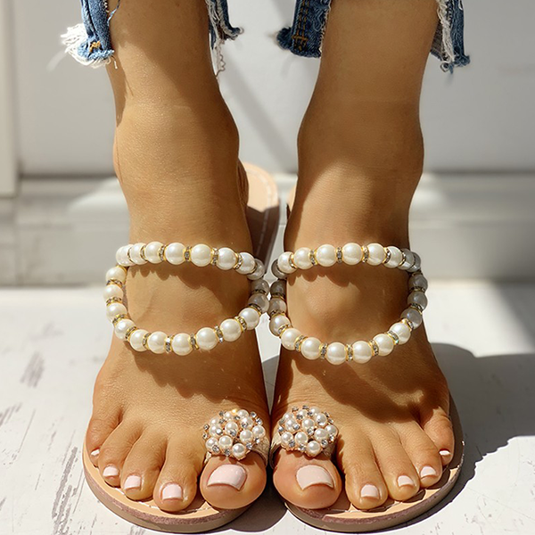 Lemmikshoes Beaded Design Toe Ring Casual Slippers