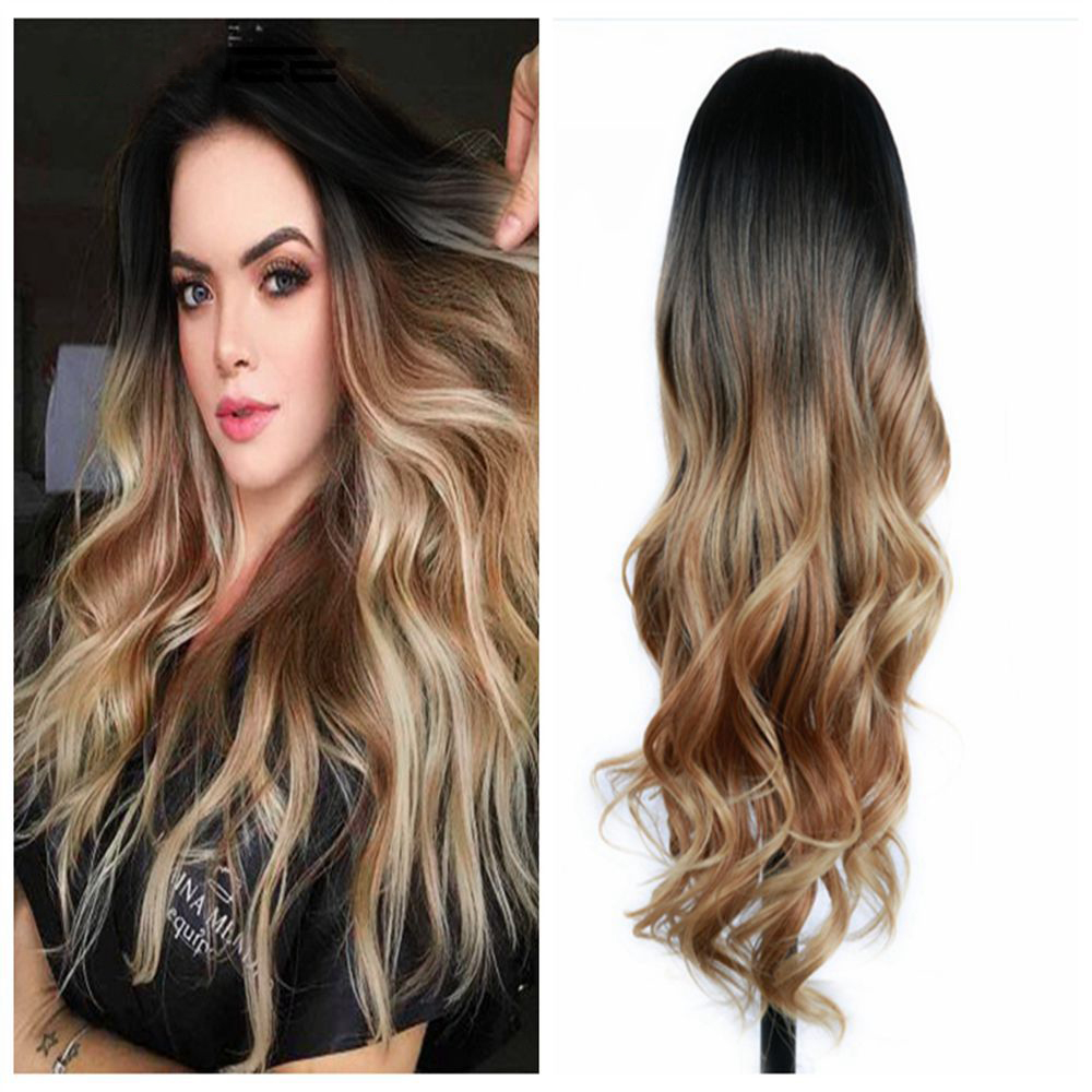 Lacwig® | Long Ombre Brown Ash Blonde Heat Resistant Synthetic Wigs For Women Glueless Wavy
