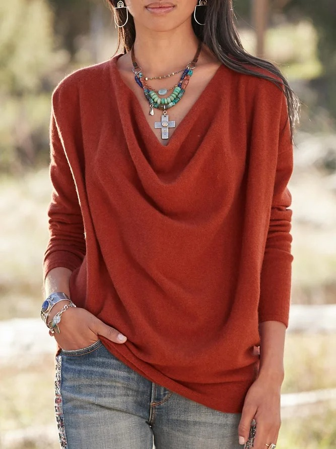 Solid Casual Cowl Neck Shirts & Tops