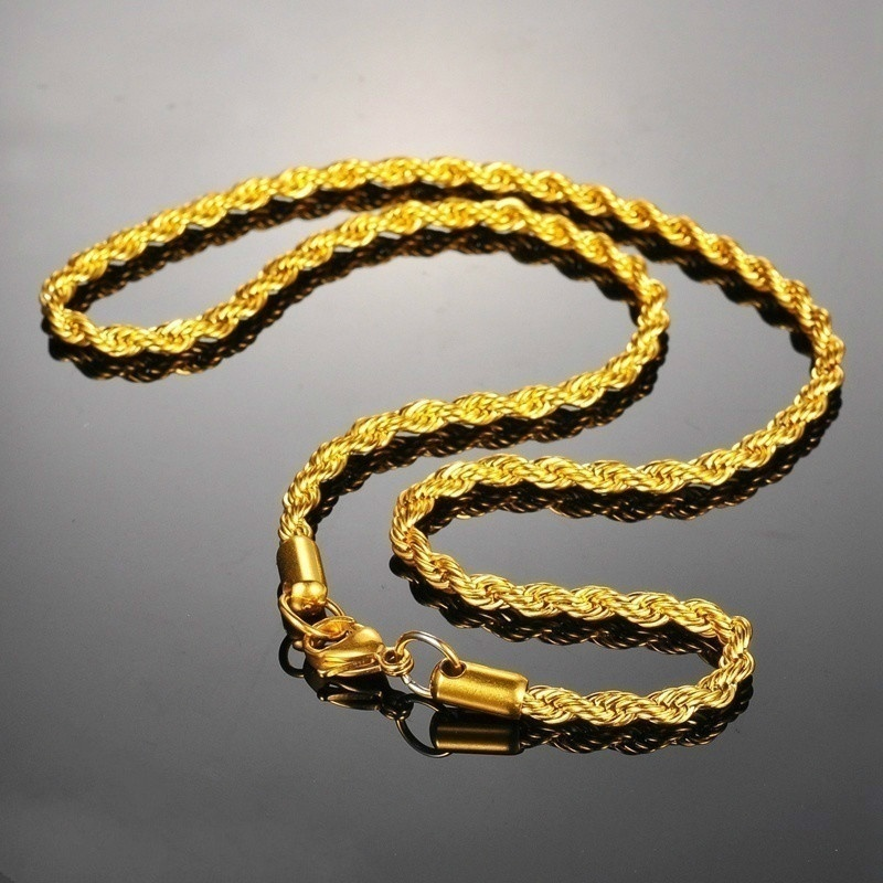 1PC 18k Yellow Italian Gold Polished Twist Chain 16 Inch-30 Inch 4MM Flash Twist Rope Necklace