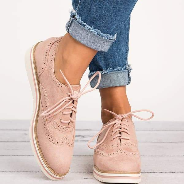 Lemmikshoes Lace Up Perforated Oxfords Shoes