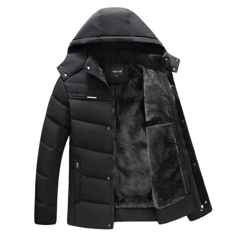 Winter Fashion Men's Jacket Coat Velvet thickening Hooded Cotton Heated Jacket