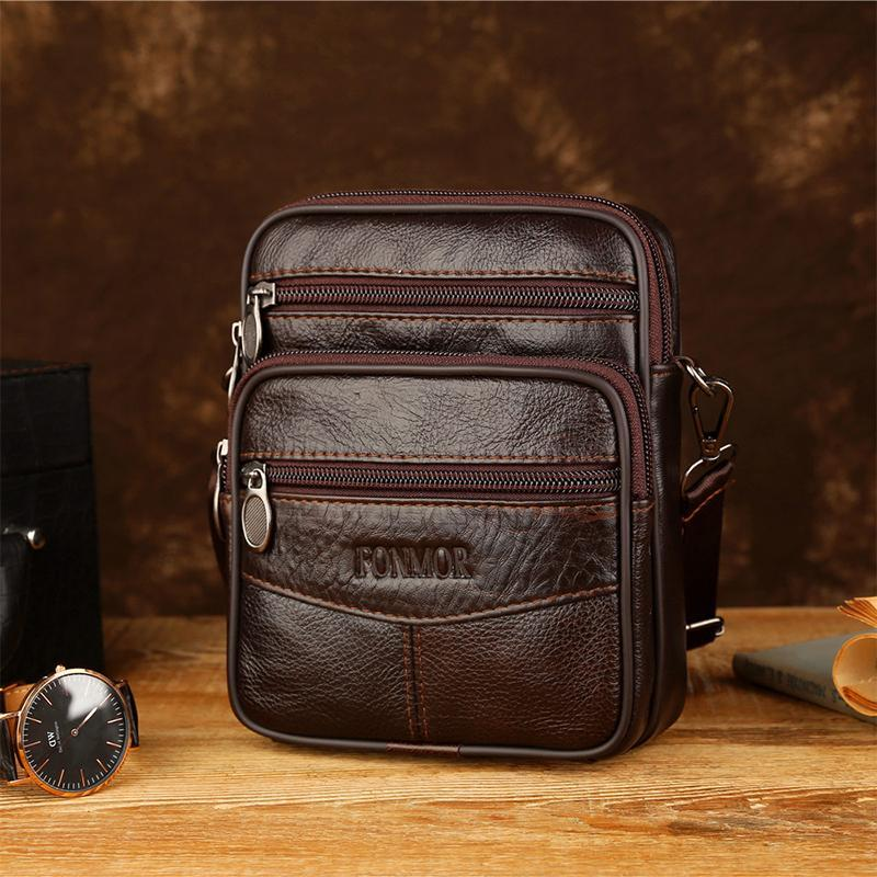 Male leather messenger bag