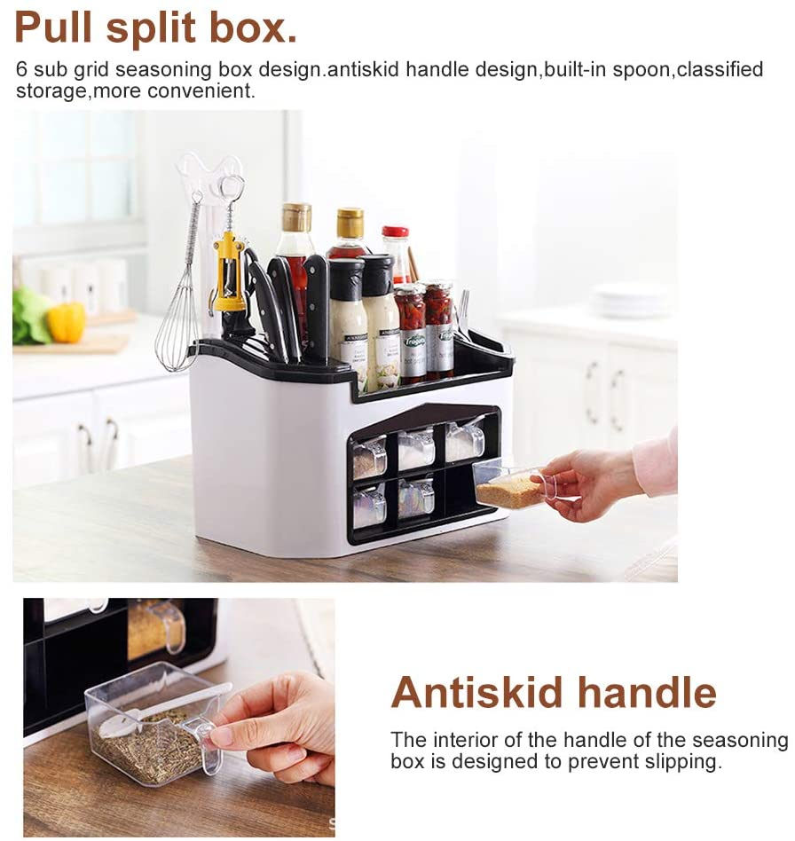 Kitchen Storage Rack Spice Box( Free Kitchen Sponge(6 PCS)