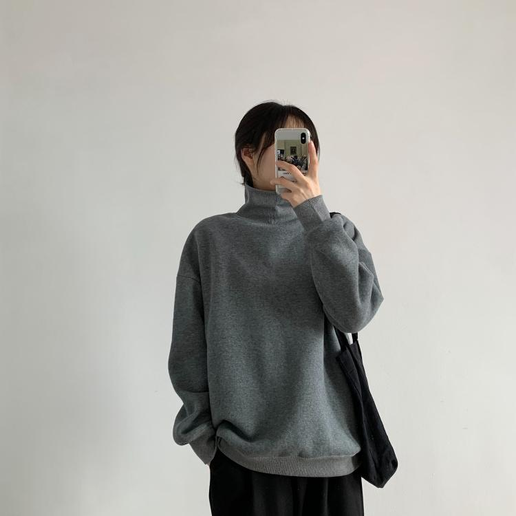 Autumn and winter simple thread turtleneck plus velvet sweater thick warm comfortable loose loose casual sweater coat